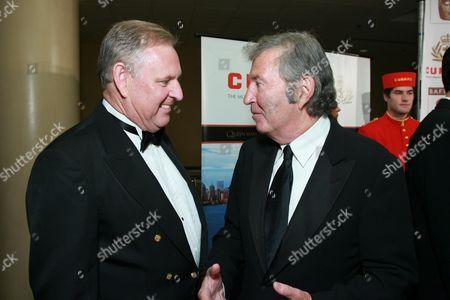 Cunard Captain David Christie and New Line Cinema's Bob Shaye
