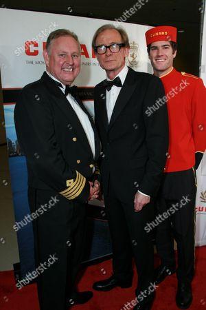 Cunard Captain David Christie and Bill Nighy
