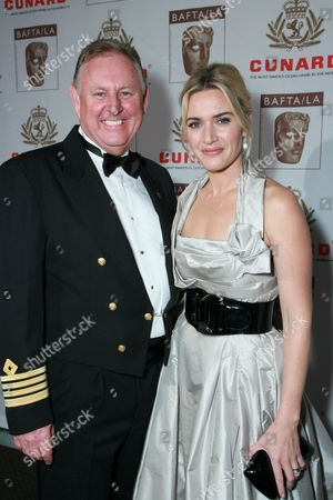 Cunard Captain David Christie and Kate Winslet