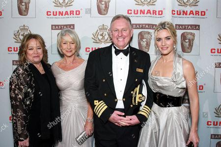Kathy Bates, Helen Mirren, Cunard Captain David Christie and Kate Winslet