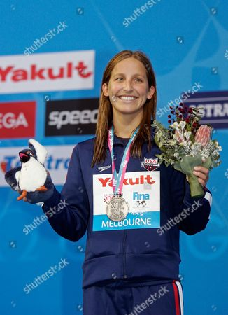 Kim Vandenberg USA's Kim Vandenberg displays the silver medal she won for the women's 200m Butterfly final at the World Swimming Championships in Melbourne, Australia