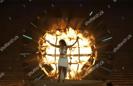 Daniela Mercury Brazilian singer Daniela Mercury performs in front of the Pan American flame after it was lit during the opening ceremony of the 2007 Pan American games at the Maracana stadium in Rio de Janeiro
