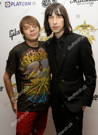 "Gary ""Mani"" Mounfield, Bobby Gillespie British Musicians Gary ""Mani"" Mounfield, left, and Bobby Gillespie at the Classic Rock awards in central London"