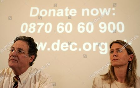 Disasters Emergency Committee(DEC) Chief Executive Brendan Gormley, left, and its member agency Save the Children's Chief Executive Jasmine Whitbread listen during a press conference regarding its Myanmar Cyclone Appeal at the Foreign Press Association in London, . Aid is getting through via its member agencies, the committee says, and it is calling on people to donate to its Myanmar Cyclone Appeal