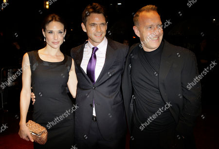 Dougray Scott, Claire Forlani, Richard Jobson British actor Dougray Scott and wife Claire Forlani arrive with Director Richard Jobson, right, for the BFI London Film Festival screening of New Town Killers, in a central London cinema