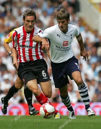 David Bentley, Dean Whitehead Tottenham Hotspur's David Bentley, left, takes the ball away from Sunderland's Dean Whitehead during their English Premier League soccer match at the White Hart Lane stadium, London