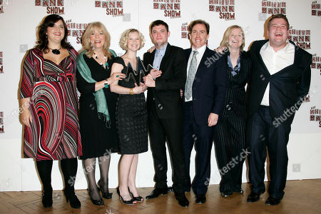 James Corden, Ruth Jones British actor and writer James Corden, right, and actress and writer Ruth Jones, left, pose with their Comedy Award for their tv show 'Gavin and Stacey' with the cast, Alison Steadman, second left, Joanna Page, third left, Mathew Horne, centre, Rob Brydon, third right, and Melanie Walters during the South Bank Show Awards in London