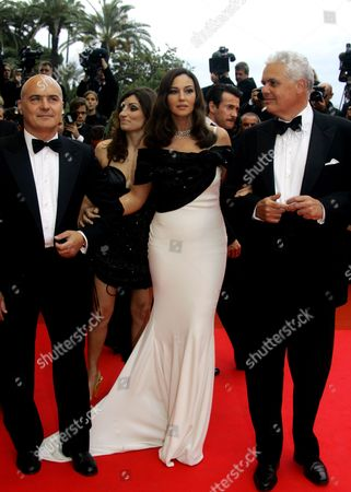 """Luca Zingaretti, Moncia Bellucci, Tullio Giordana From left, Italian actors Luca Zingaretti and Monica Bellucci and Italian director Marco Tullio Giordana arrive for the premiere of the film """"Le Silence De Lorna"""" during the 61st International film festival in Cannes, southern France"""
