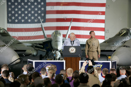 Dick Cheney Vice President Dick Cheney greets sailors and Marines during a rally on board the USS John C. Stennis aircraft carrier in the Persian Gulf, . RIght is R. Adm. Kevin Quinn