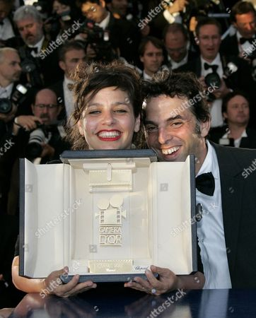 Shira Geffen, Etgar Keret Shira Geffen, left, and Etgar Keret pose with their Golden Camera award at a photo call following the awards ceremony at the 60th International film festival in Cannes, southern France, on