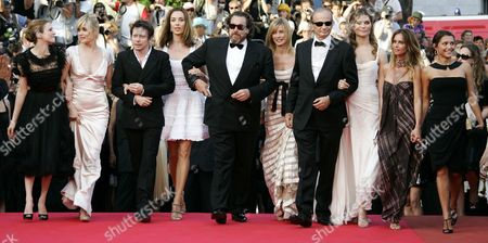 "Julian Schnabel, Olatz Lopez Garmendia, Emma De Caunes From left, Canadian actress Marie Josee Croze, French actress Emmanuelle Seigner, French actor Mathieu Almaric, actress Olatz Lopez Garmendia, American Director Julian Schnabel, French actress Anne Consigny, French actor Patrick Chesnais, and French actresses Marina Hands, Agathe de la fontaine and Emma De Caunes arrive for the screening of the film ""Le Scaphandre Et Le Papillon,"" at the 60th International film festival in Cannes, southern France, on"