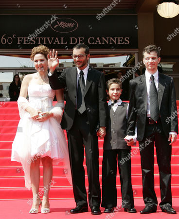 """Raphael Nadjari, Michael Moshonov, Yonathan Alster, Limor Goldstein French Director Raphael Nadjari, second left, and Israeli cast members, from left, Limor Goldstein, Yonathan Alster, and Michael Moshonov arrive for the screening of the film """"Tehilim,"""" at the 60th International film festival in Cannes, southern France, on"""