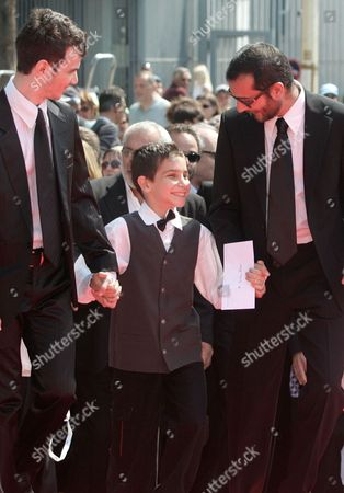 """Raphael Nadjari, Yonathan Alster, Michael Moshonov French director Raphael Nadjari, right, arrives with his Israeli actors Yonathan Alster, center, and Michael Moshonov for the screening of the film """"Tehilim,"""" at the 60th International film festival in Cannes, southern France, on"""