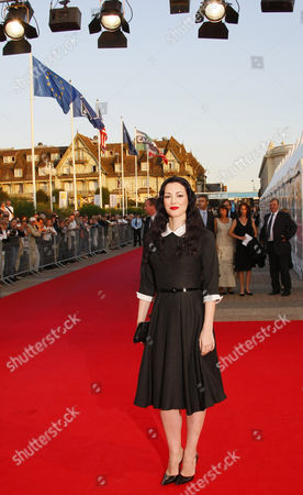 """Julie Dreyfus French actress Julie Dreyfus arrives for the screening of the movie """"Before the devil knows you're dead """", at the 33rd American Film Festival in Deauville, Normandy, France"""