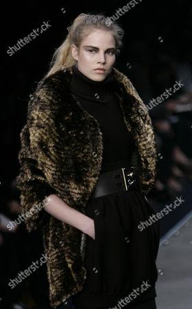 Stock Photo of Suvi Koponen Finnish model Suvi Koponen wears a creation part of the Fendi Fall/Winter 2008/2009 women's collection presented in Milan, Italy