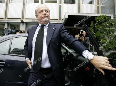 Dino De Laurentiis Napoli president Dino De Laurentiis arrives at the soccer league headquarter, in Milan, Italy