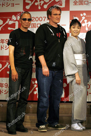 """Quentin Tarantino, Kaori Momoi, Takahashi Miike From left: Japanese director Takahashi Miike, U.S. film director and actor Quentin Tarantino and Japanese actress Kaori Momoi pose together during a press conference in Tokyo to announce the upcoming Japanese film """"A Sukiaki Western: Django."""" Tarantino plays two roles in the film which is a so-called macaroni-western set in Japan, starring Japanese actors speaking in English, and meant for a Japanese audience"""