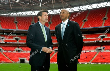 Sebastian Coe, Frank Fredericks Namibia's former athlete Frankie Fredericks, right, and Britain's Sebastian Coe, chairman of the 2012 organizing committee, are seen during a visit by the International Olympic Committee to Wembley Stadium in London, . The International Olympic Committee members are on a three day visit to London to inspect venues for the London 2012 Olympic Games