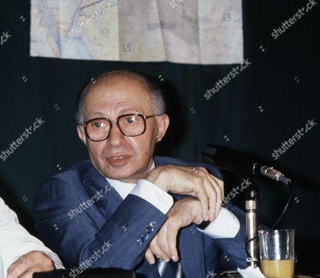 Menachem Begin, Israeli Prime Minister shown at press conference concerning Isreali attack on Iraqi nuclear reactor. September 1981 photo