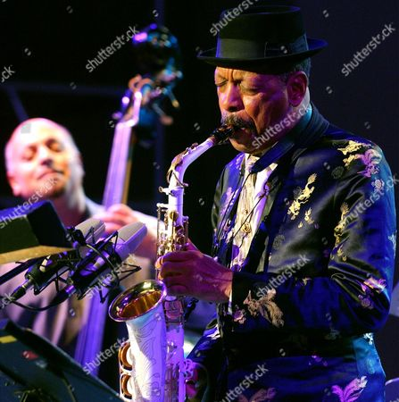 "Ornette Coleman Jazz musician Ornette Coleman, front, performs with his quartet on the closing evening of the Skopje Jazz Festival, in Skopje, Macedonia. Coleman, the visionary saxophonist who pioneered ""free jazz"" and won a Pulitzer Prize in 2007, died, on Thursday, June 11, 2015 in New York. He was 85"