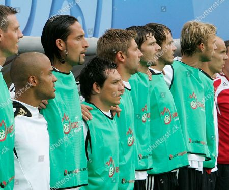 German substitutes, Tim Borowski, David Odonkor, Kevin Kuranyi, Piotr Trochowski, Thomas Hitzlsperger, Arne Friedrich, Heiko Westermann, Simon Rolfes and Robert Enke, from left, during the group B match between Croatia and Germany in Klagenfurt, Austria, at the Euro 2008 European Soccer Championships in Austria and Switzerland