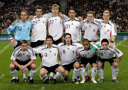 Timo Hildebrand, Christoph Metzelder, Per Mertesacker, Kevin Kuranyi, Marcell Jansen, Bastian Schweinsteiger, Lukas Podolski, Arne Friedrich, Torsten Frings, David Odonkor, Piort Trochowski The players of the German national soccer team first row, from left: Lukas Podolski, Arne Friedrich, Torsten Frings, David Odonkor, Piotr Trochowski. Second row, from left: Timo Hildebrand, Christoph Metzelder, Per Mertesacker, Kevin Kuranyi, Marcell Jansen, Bastian Schweinsteiger, prior the Euro 2008 qualification group D soccer match between Germany and Czech Republic in Munich, southern Germany, on