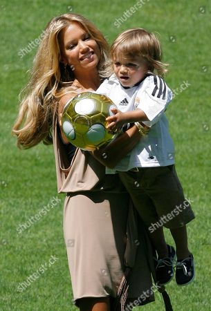 Damian Van Der Vaart, Sylvie Meiss Sylvie Meiss, wife of new Real Madrid Dutch player Rafael Ferdinand Van Der Vaart, holds her son Damian during Van Der Vaart's official presentation at the Bernabeu stadium in Madrid, . Van der Vaart joined Real Madrid from Hamburg and has signed a five-year contract making him the Spanish champion's fifth Dutch player. News reports say Madrid will pay euro13 million (US$20.3 million) for Van der Vaart, who joins his compatriots Ruud van Nistelrooy, Arjen Robben, Wesley Sneijder and Royston Drenthe