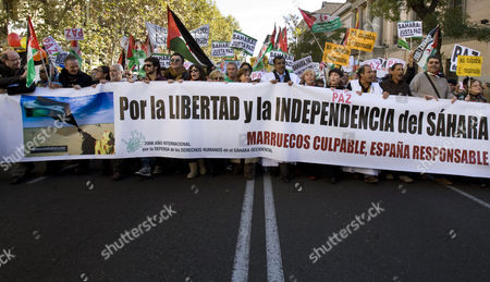 Maribel Verdu, Rosa Maria Sarda, Luisa Martin, Veronica Forque, Fran Perea Spanish actresses, from right to left, Veronica Forque, Luisa Martin, Rosa Maria Sarda, Maribel Verdu and Spanish singer and actor Fran Perea hold a banner reading 'Freedom and Independence for Sahara, Morocco guilty, Spain responsible' during a demonstration in Madrid, protesting against Morocco's takeover of the whole Western Sahara and calling on a solution for the region's future