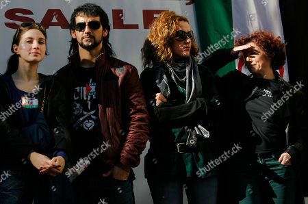 Iciar Bollain, Fran Perea Spanish actor and singer Fran Perea, second left, and Spanish filmmaker Iciar Bollain, right, take part on a demonstration in Madrid, protesting against Morocco's takeover of the whole Western Sahara and calling on a solution for the region's future