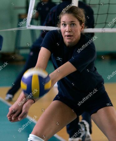 Alix Klineman Team USA women's volleyball player Alix Klineman receives a serve during a workout, in Tianjin, China