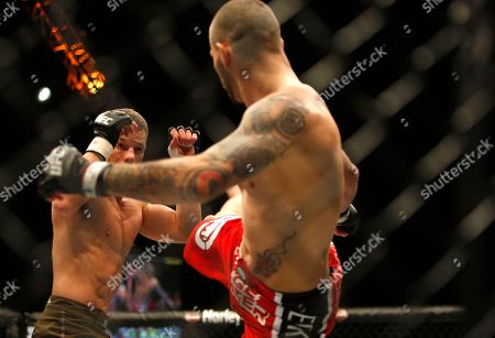 Marcus Davis, Jess Liaudin Marcus Davis (left) in action blocking a kick against Jess Liaudin during their UFC 80 bout at the Metro Radio Arena in Newcastle, England, . Davis won on a 1st round KO via punch