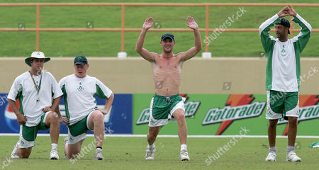 David Langford-Smith Kevin O'Brien Andre Botha Ireland's players from left, David Langford-Smith, Kevin O'Brien Paul Mooney and Andre Botha during a training session in Georgetown, Guyana, . Ireland will play its Super Eight Cricket World Cup match against England on Friday