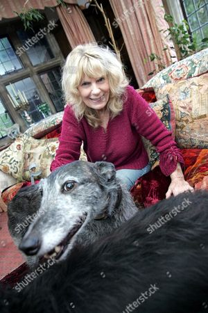 Carla Lane at her home, Sussex. Here with her pet dogs Eigor and Shy, both 7 years old.