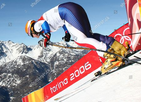 Carole Montillet-Carles leaves the start hut during Women's Downhill training in San Sicario Fraiteve, Italy at the Turin 2006 Winter Olympic Games . Montillet-Carles crashed during the training run