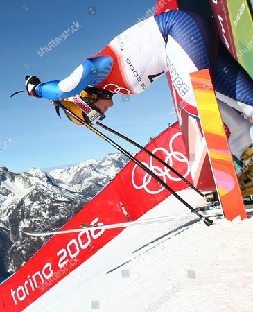 Carole Montillet-Carles prepares to leave the start hut during Women's Downhill training in San Sicario Fraiteve, Italy at the Turin 2006 Winter Olympic Games . Montillet-Carles crashed during the training run
