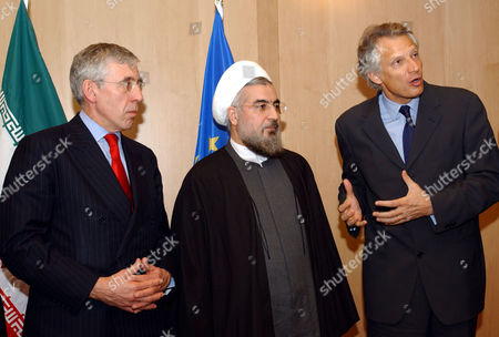 STRAW French Foreign Minister Dominique de Villepin, right, gestures while speaking during a meeting with Secretary General of the Supreme National Security Council of Iran Hassan Rohani, center, and British Foreign Secretary Jack Straw at the European Council building in Brussels, . Rohani is in Brussels to meet with EU officials and to discuss EU-Iran relations