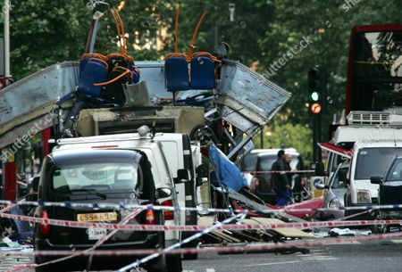 BOMBINGS Dated July 7, 2005, the wreckage of a double-decker London bus with its top blown off and damaged cars scattered on the road at Tavistock Square in central London. A gun assault on the Paris offices of satirical magazine Charlie Hebdo, was the deadliest terrorist attack in France's recent history, and joins the roll of various terror attacks in western Europe, including in 2005, when 52 commuters were killed when four al Qaida-inspired suicide bombers blow themselves up on three London subway trains and a bus in Tavistock Square