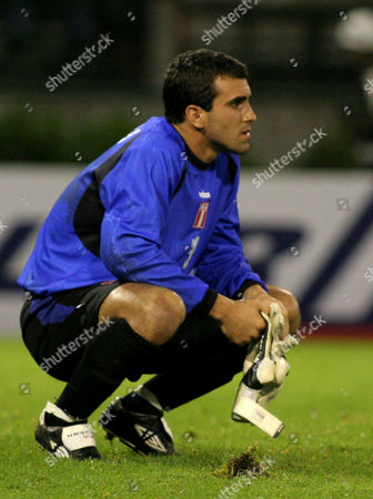 PERU VENEZUELA Peru's goalkeeper Jose Carvallo watches the field after the end of the game his team lost, 3-0, against Venezuela during the South American under-20 championships in Manizales, . Peru was eliminated from the tournament
