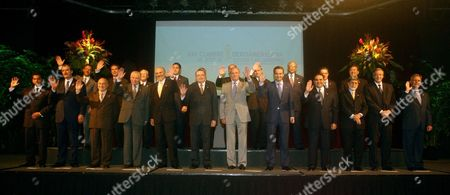 Presidents and representatives of 21 Ibero-American nations pose for the official photo of the Ibero-American Summit in San Jose, Costa Rica . From bottom left to right Ecuador's President Lucio Gutierrez, Mexico's President Vicente Fox, unidentified representative, Chile's former President Patricio Aylwin, Bolivia's President Carlos Mesa, Costa Rica's President Abel Pacheco, King of Spain Juan Carlos, Spain's Prime Minister Jose Luis Rodriguez Zapatero, El Salvador's President Tony Saca, Brazil's Foreign Minister Celso Amorim, Argentina's President Nestor Kirchner and Guatemala's President Oscar Berger. From top left to right, Dominican Republic's Leonel Fernandez, Portugal's Foreign Minister Antonio Monteiro, Nicaragua's President Enrique Bolanos, Panama's President Martin Torrijos, Honduras's President Ricardo Maduro, Cuba's Vice-President Carlos Lage, Venezuelan Vice-foreign minister Arevalo Mendez, Uruguay's President Jorge Batle, Colombia's President Alvaro Uribe, and Paraguay's President Nicanor Duarte
