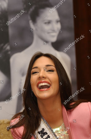 Amelia Vega, current Miss Universe smiles during a news conference, in Quito