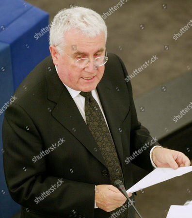 ROCHE Irish Minister for European Affairs Dick Roche reads a statement at the European Parliament in Strasbourg, eastern France, . Commenting on the construction of a security wall by Israel in the West Bank, Roche expressed the EU's disagreement about the wall, saying it was an obstacle to the peace process. Ireland currently holds the rotating EU presidency