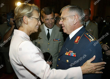 BENTEGEAT French Defense Minister Michele Alliot-Marie, left, greets NATO military committee chairman German Gen. Harald Kujat, as French joint Chief of Staff Henri Bentegeat looks on during the meeting of NATO members joint chiefs of Staff, in Cannes, southeastern France