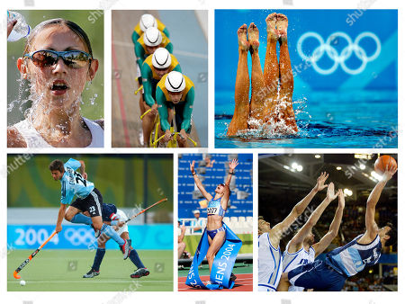 The following are some highlights from various Olympic events in Athens, . Top row, from left: OLYRUN213, by AP photographer Ben Curtis, Sylwia Korzeniowska, of Poland, cools off in the 20 kilometer walk; OLYCYC129, by AP photographer Laurent Rebours, Australia's team, led by Bradley McGee, pedals their way to win the gold medal in the men's team pursuit final; OLYSYN117, by AP photographer Lefteris Pitarakis, Canada's Fanny Letourneau and Courtenay Stewart perform in the duet technical routine in synchronized swimming. Bottom row, from left: OLYHKY304, by AP photographer Petros Giannakouris, Argentina's Lukas Camareri, top, fights for the ball with India's Dilip Tirkey during a field hockey match; OLYRUN409, by AP photographer Thomas Kienzle, Athanasia Tsoumeleka of Greece, reacts as she wins the 20 kilometer walk; OLYBKO122, by AP photographer Michael Conroy, Argentina's Emanuel David Ginobili, right, hits a shot at the buzzer ending the first quarter over Italy's Luca Garri, left, and Giacomo Galanda in a preliminary round men's basketball game