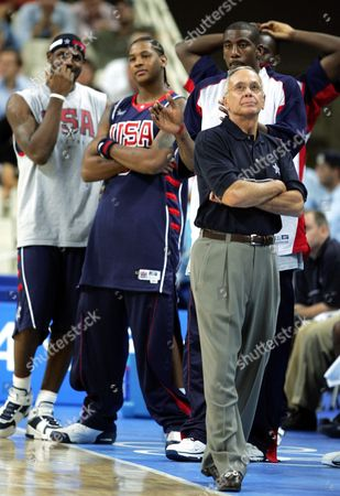 OKAFOR USA's basketball coach Larry Brown and members of his team watch as Argentina completes a 89-81 win in the semi-finals of the 2004 Olympic Games at the Olympic Indoor Hall in Athens, Greece on . In background from left: James Lebron, Carmelo Anthony, Amare Stoudemire and Emeka Okafor (obscured at rear