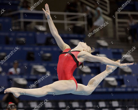 Spain's Elena Gomez performs her floor routine during a practice session for the 2004 Olympic Games in Athens