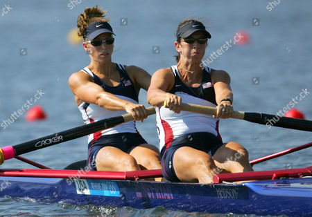 Stock Picture of Sarah Jones, left, and Kate McKenzie of the U.S. row to the last place in their Women's Pairs repechage heat at the 2004 Olympics Games at the Schinias Rowing & Canoeing Center in Schinias near Athens, Greece
