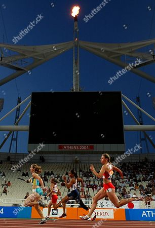 Amy Winters of Australia, left, April Holmes of U.S, second right, Alicja Fiodorow, second left, and Anna Szymul, right, of Poland compete during the women's 200m T46 final at the Athens 2004 Paralympic Games in the Olympic complex on