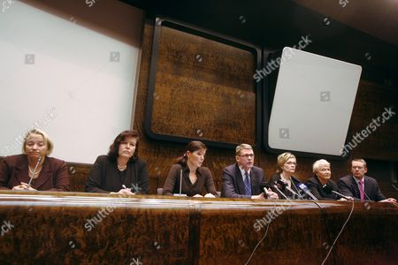 Finland's Minister of Justice Tuija Brax, Minister of the Interior Anne Holmlund, Finland's Minister of Education Sari Sarkomaa, Prime Minister Matti Vanhanen and Minister of Health and Social Services Paula Risikko, Minister of Social Affairs and Health Liisa Hyssala and Minister of Culture and Sport Stefan Wallin during the government's press conference hold after the shooting in the Jokela high school in Tuusula some 50 kilometres north of Helsinki. According to latest information eight people were killed in the attack: five boys, two girls and a female adult. The suspect is an 18-year-old 12th grader of the same school. He is in critical state receiving medical care in the intensive care unit of the Toolo Hospital in Helsinki.
