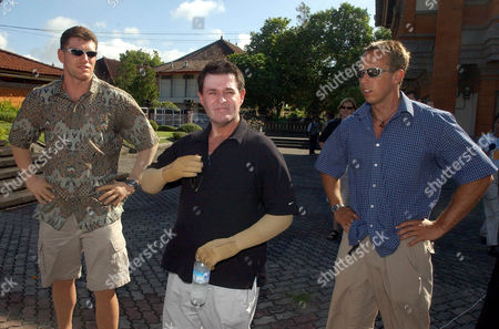 MCCARTNEY HUGHES ANSTEE Witnesses and victims of last year's Oct. 12 Bali bombing, from left, Jason McCartney, Peter Hughes, and Tasmanian Stuart Anstee, stand outside the courthouse after testifying against Amrozi bin Nurhasyim in Denpasar, Bali, Indonesia. Amrozi, one of the key suspects in the Bali bombings, is on trial for the nightclub blasts that killed 202 people, mostly foreign tourists