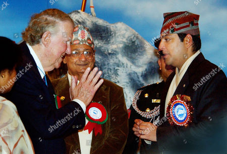 PRINCE Sir Edmund Hillary, left, greets Nepalese Crown Prince Paras Bir Bikram Shah Dev during ceremonies, in Katmandu, Nepal. Hillary and other Mount Everest mountaineers were on hand to celebrate the 50th anniversary of the conquering of Mount Everest. Hillary and Sherpa Tenzing Norgay were the first to scaled the 8,850-meter (29,035-foot) summit on May 29, 1953